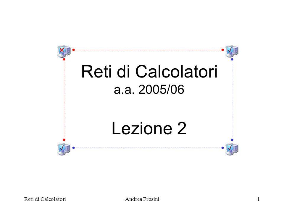 Reti di CalcolatoriAndrea Frosini2 Per il funzionamento delle moderne reti di calcolatori, il software ha una enorme importanza: il software di rete è estremamente complesso e articolato per facilitarne la progettazione, la verifica, limplementazione ed il testing, il software di rete è altamente strutturato ed organizzato in strati o livelli (layers) di conseguenza, larchitettura di una rete è organizzata come una gerarchia di protocolli (protocol hierarchy) Aspetti software delle reti di calcolatori
