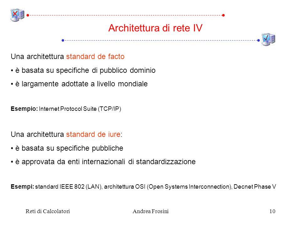 Reti di CalcolatoriAndrea Frosini10 Una architettura standard de facto è basata su specifiche di pubblico dominio è largamente adottate a livello mond