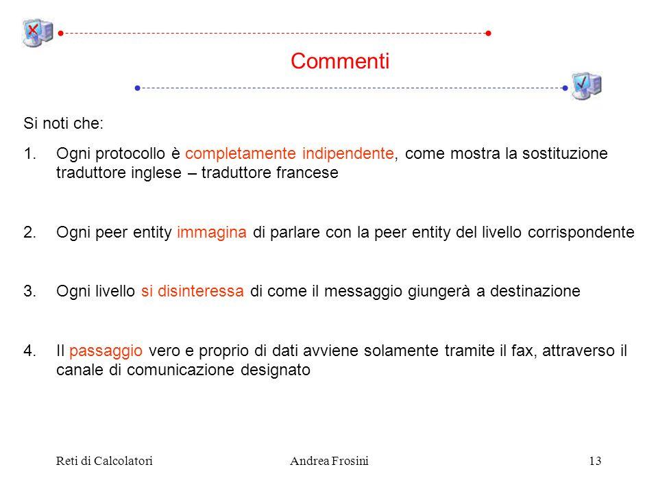Reti di CalcolatoriAndrea Frosini13 Si noti che: 1.Ogni protocollo è completamente indipendente, come mostra la sostituzione traduttore inglese – trad