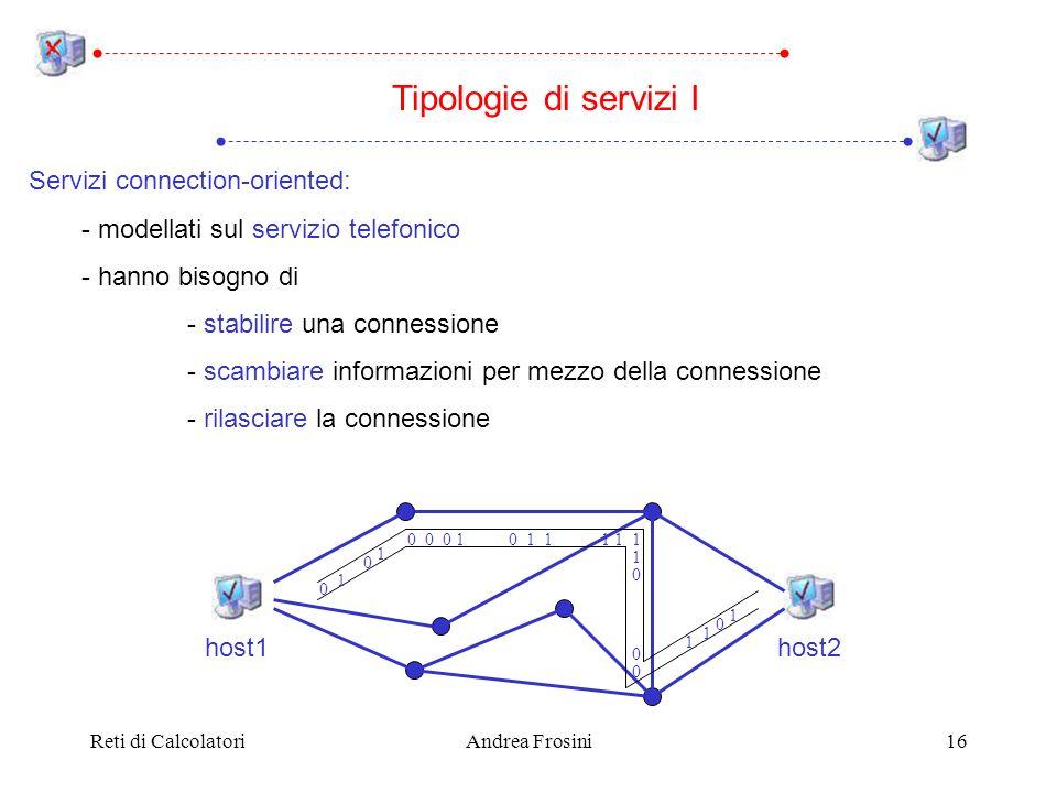 Reti di CalcolatoriAndrea Frosini16 Servizi connection-oriented: - modellati sul servizio telefonico - hanno bisogno di - stabilire una connessione -