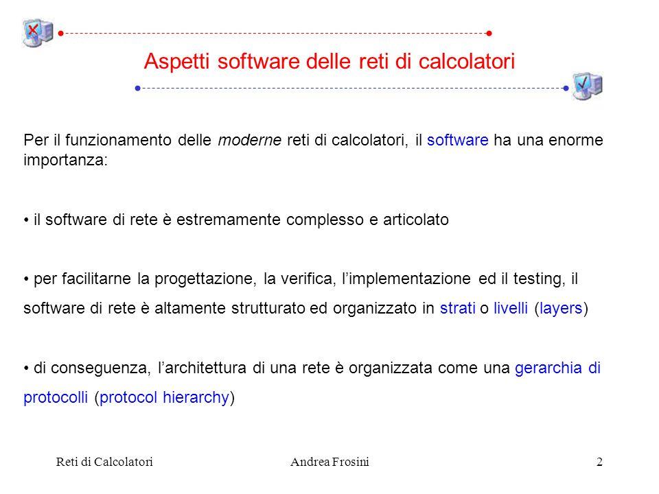 Reti di CalcolatoriAndrea Frosini2 Per il funzionamento delle moderne reti di calcolatori, il software ha una enorme importanza: il software di rete è