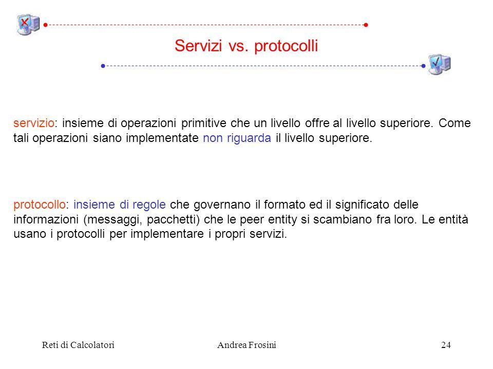 Reti di CalcolatoriAndrea Frosini24 Servizi vs. protocolli servizio: insieme di operazioni primitive che un livello offre al livello superiore. Come t