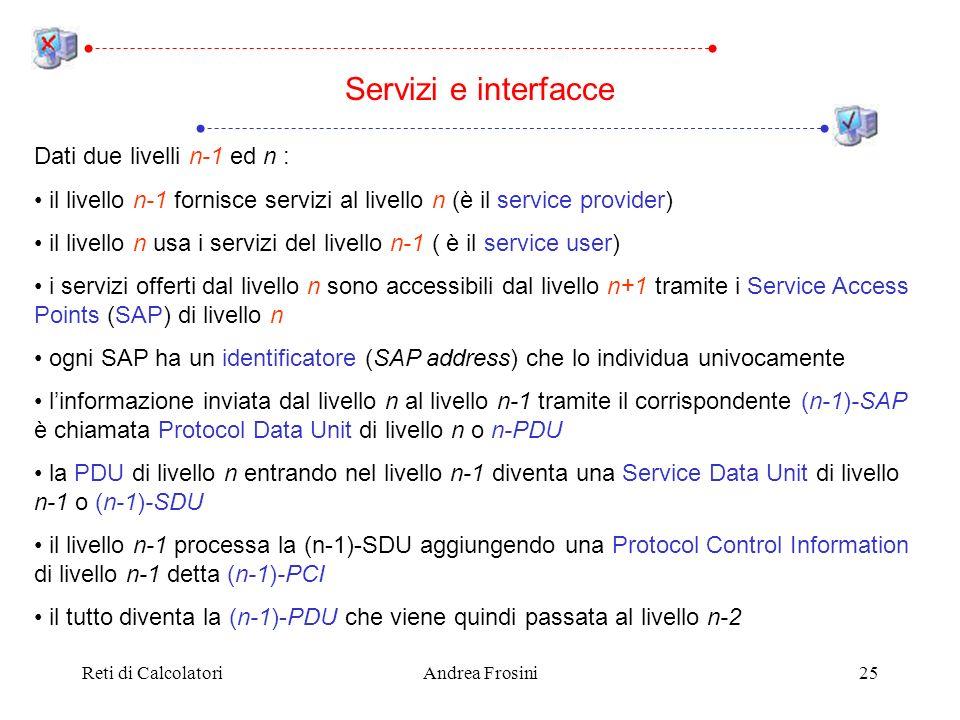Reti di CalcolatoriAndrea Frosini25 Dati due livelli n-1 ed n : il livello n-1 fornisce servizi al livello n (è il service provider) il livello n usa i servizi del livello n-1 ( è il service user) i servizi offerti dal livello n sono accessibili dal livello n+1 tramite i Service Access Points (SAP) di livello n ogni SAP ha un identificatore (SAP address) che lo individua univocamente linformazione inviata dal livello n al livello n-1 tramite il corrispondente (n-1)-SAP è chiamata Protocol Data Unit di livello n o n-PDU la PDU di livello n entrando nel livello n-1 diventa una Service Data Unit di livello n-1 o (n-1)-SDU il livello n-1 processa la (n-1)-SDU aggiungendo una Protocol Control Information di livello n-1 detta (n-1)-PCI il tutto diventa la (n-1)-PDU che viene quindi passata al livello n-2 Servizi e interfacce
