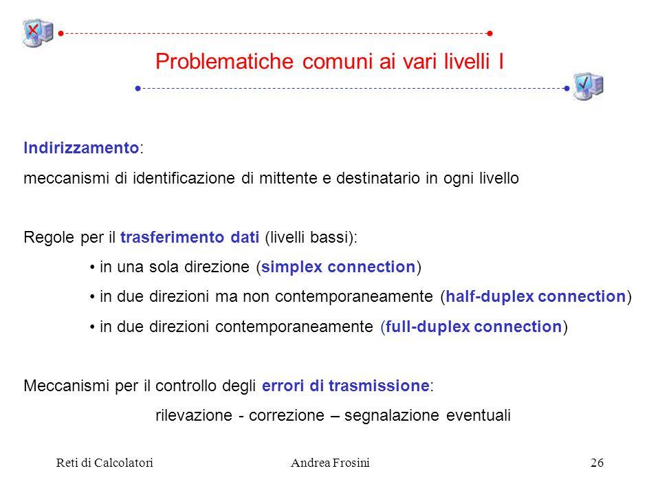 Reti di CalcolatoriAndrea Frosini26 Indirizzamento: meccanismi di identificazione di mittente e destinatario in ogni livello Regole per il trasferimen