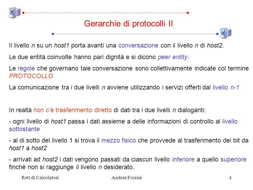 Reti di CalcolatoriAndrea Frosini4 Il livello n su un host1 porta avanti una conversazione con il livello n di host2. Le due entità coinvolte hanno pa