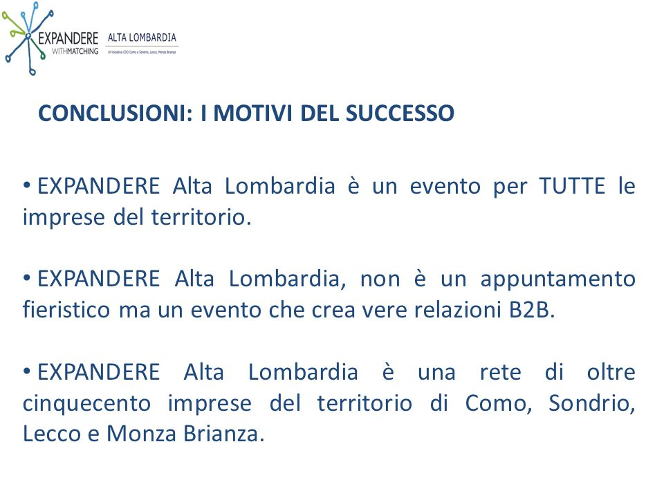 EXPANDERE Alta Lombardia è un evento per TUTTE le imprese del territorio.