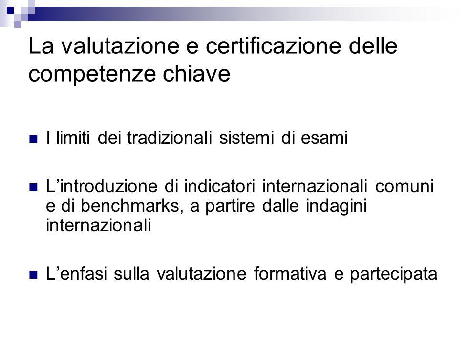 La valutazione e certificazione delle competenze chiave I limiti dei tradizionali sistemi di esami Lintroduzione di indicatori internazionali comuni e di benchmarks, a partire dalle indagini internazionali Lenfasi sulla valutazione formativa e partecipata