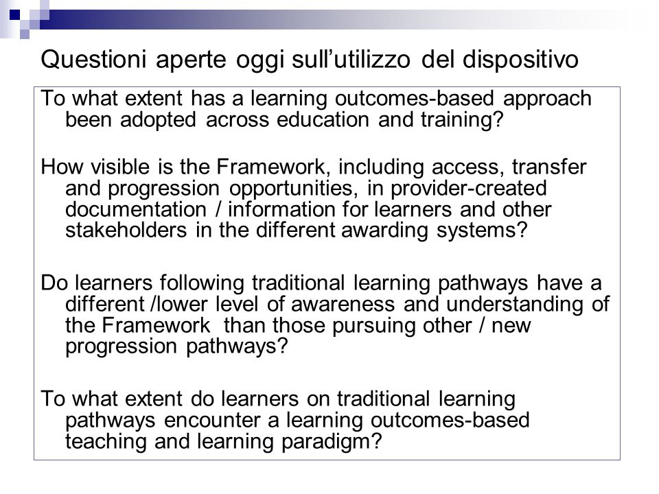 To what extent has a learning outcomes-based approach been adopted across education and training.