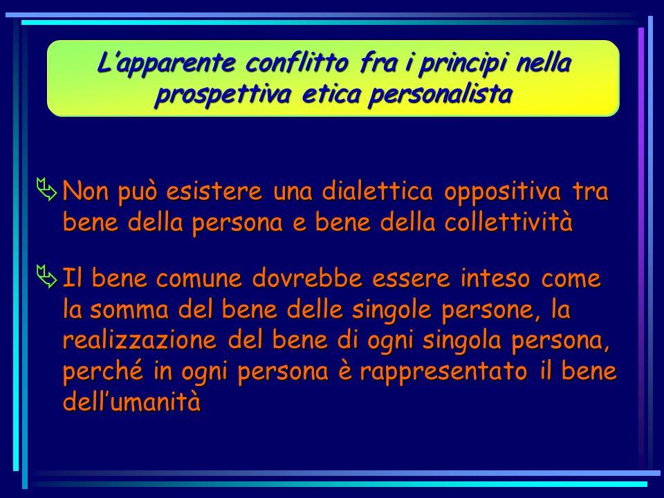 Non può esistere una dialettica oppositiva tra bene della persona e bene della collettività Non può esistere una dialettica oppositiva tra bene della