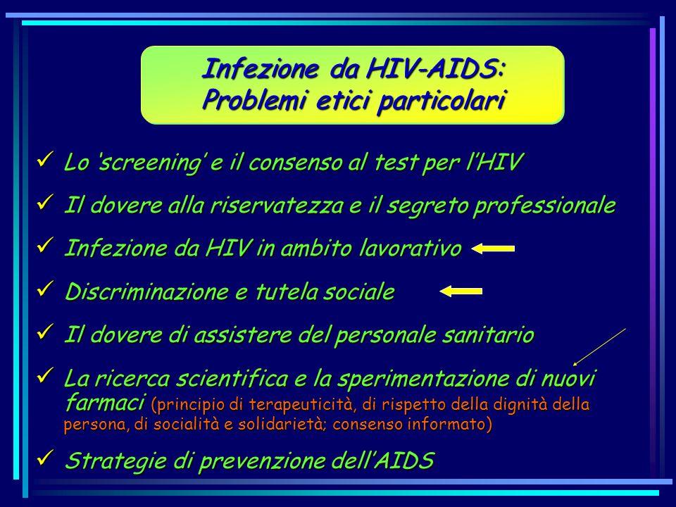 Lo screening e il consenso al test per lHIV Lo screening e il consenso al test per lHIV Il dovere alla riservatezza e il segreto professionale Il dove