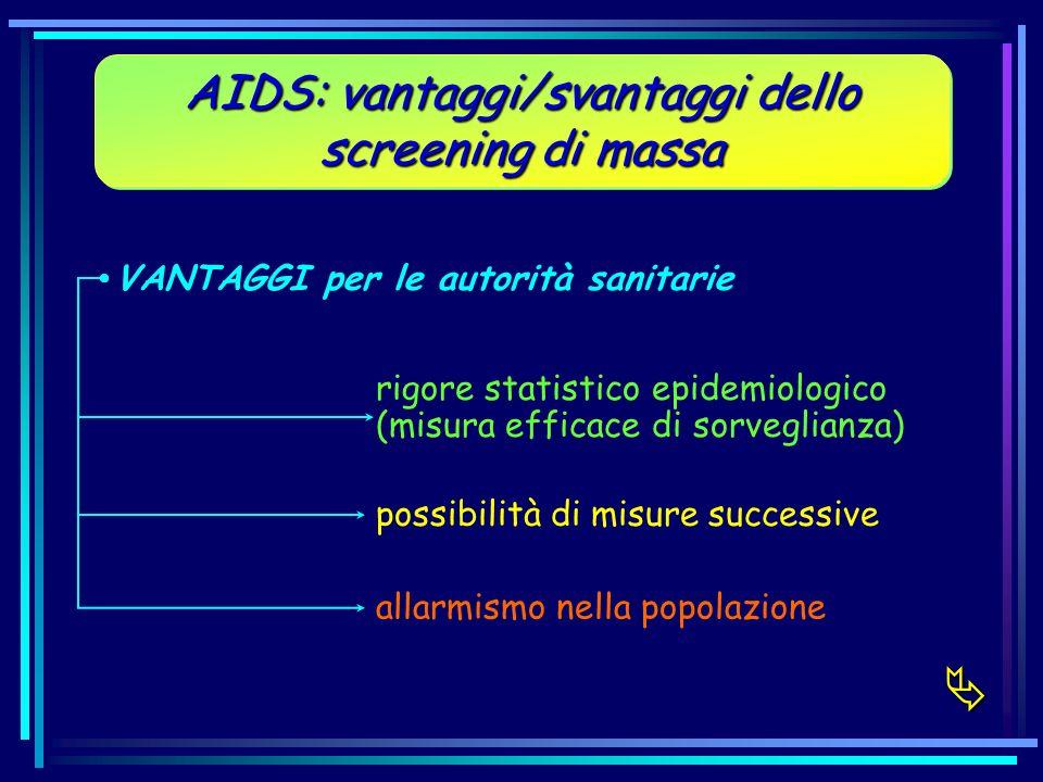 AIDS: vantaggi/svantaggi dello screening di massa VANTAGGI per le autorità sanitarie rigore statistico epidemiologico (misura efficace di sorveglianza