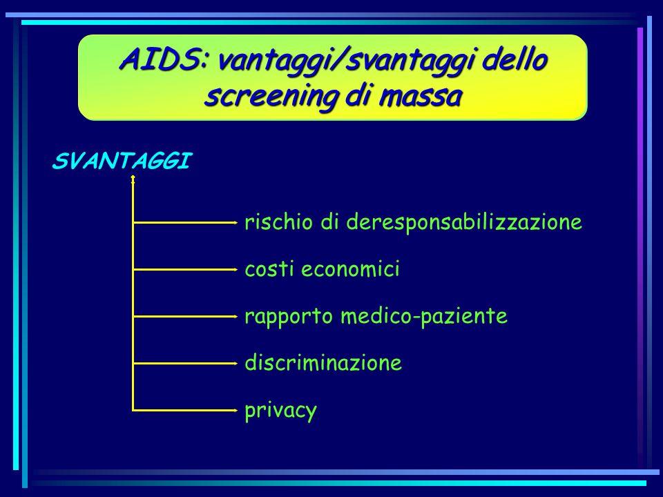 SVANTAGGI AIDS: vantaggi/svantaggi dello screening di massa rischio di deresponsabilizzazione costi economici rapporto medico-paziente discriminazione