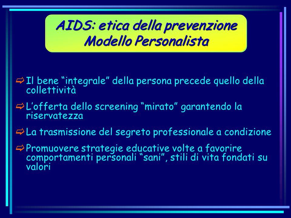 Il bene integrale della persona precede quello della collettività Lofferta dello screening mirato garantendo la riservatezza La trasmissione del segre