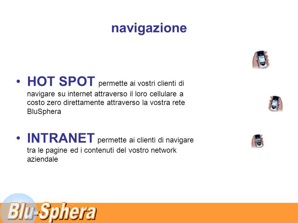 navigazione HOT SPOT permette ai vostri clienti di navigare su internet attraverso il loro cellulare a costo zero direttamente attraverso la vostra rete BluSphera INTRANET permette ai clienti di navigare tra le pagine ed i contenuti del vostro network aziendale