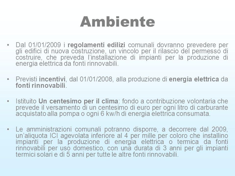 Ambiente Dal 01/01/2009 i regolamenti edilizi comunali dovranno prevedere per gli edifici di nuova costruzione, un vincolo per il rilascio del permesso di costruire, che preveda linstallazione di impianti per la produzione di energia elettrica da fonti rinnovabili.