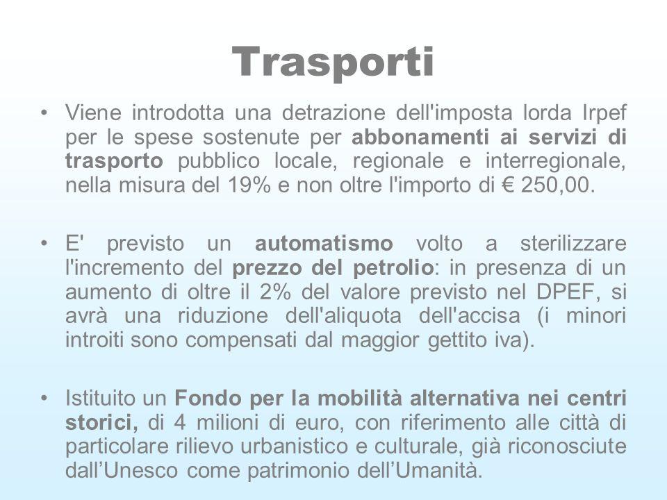 Trasporti Viene introdotta una detrazione dell imposta lorda Irpef per le spese sostenute per abbonamenti ai servizi di trasporto pubblico locale, regionale e interregionale, nella misura del 19% e non oltre l importo di 250,00.
