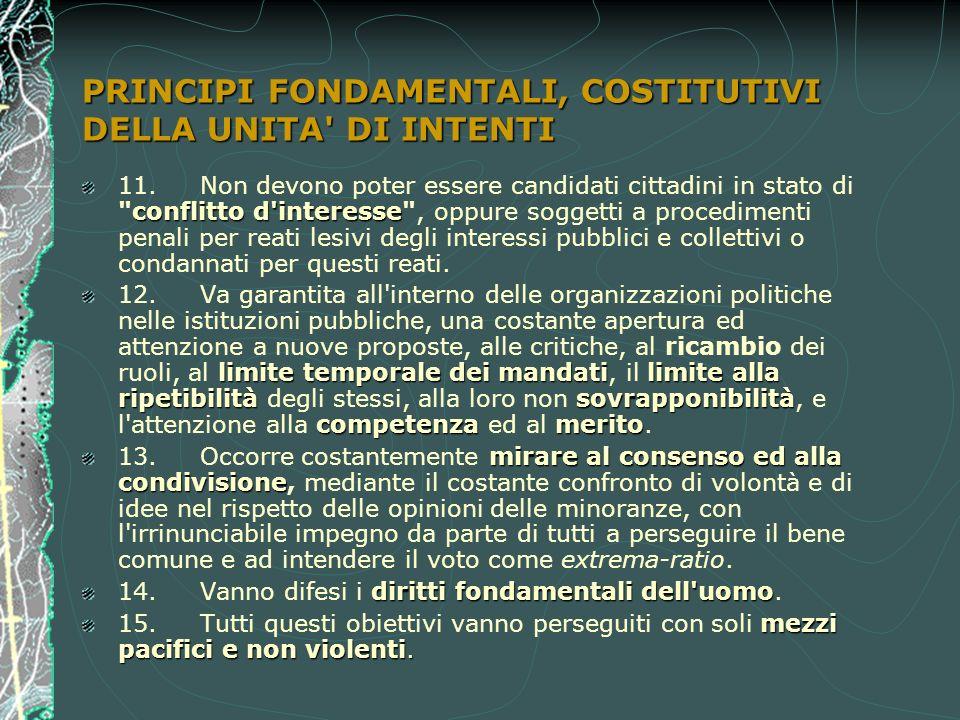 PRINCIPI FONDAMENTALI, COSTITUTIVI DELLA UNITA DI INTENTI conflitto d interesse 11.