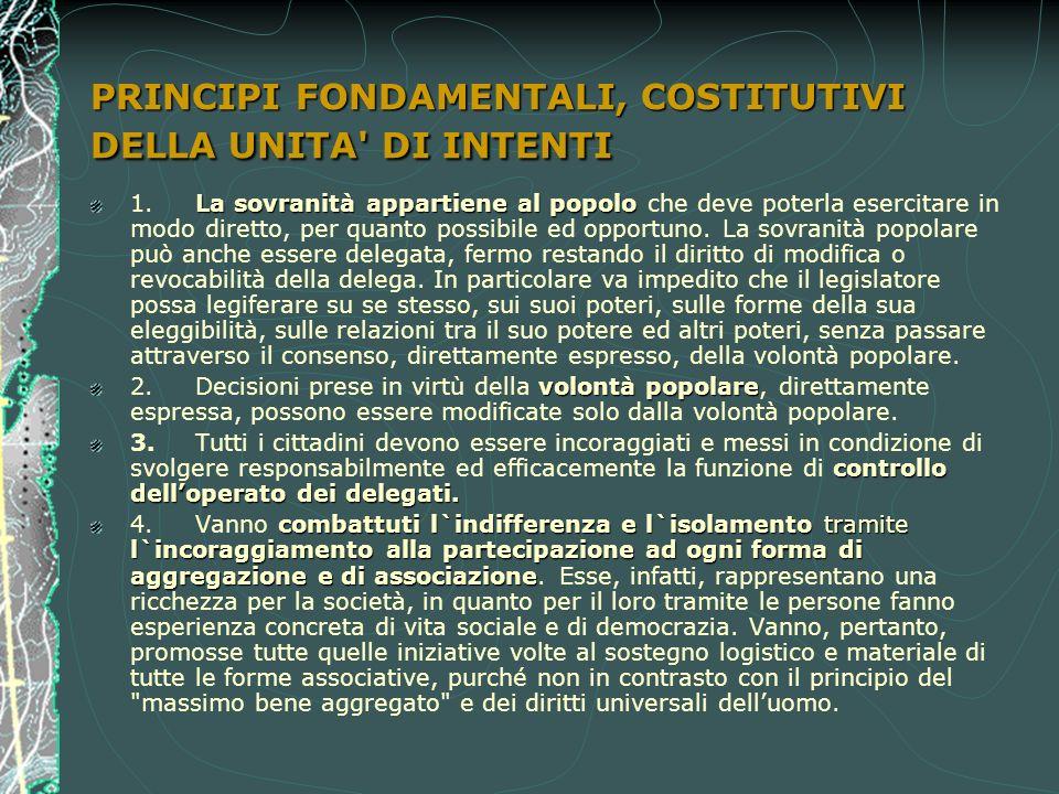 PRINCIPI FONDAMENTALI, COSTITUTIVI DELLA UNITA DI INTENTI La sovranità appartiene al popolo 1.