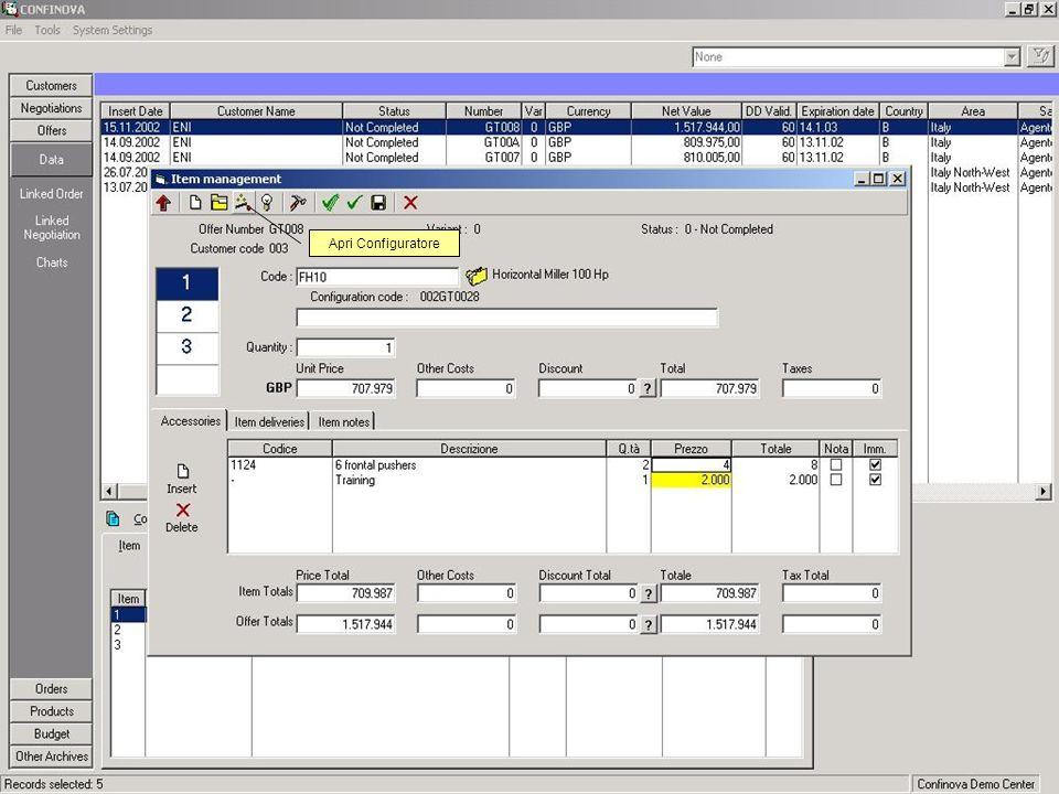 Utilizzo del Configuratore in Offerte ed Ordini Apri Configuratore