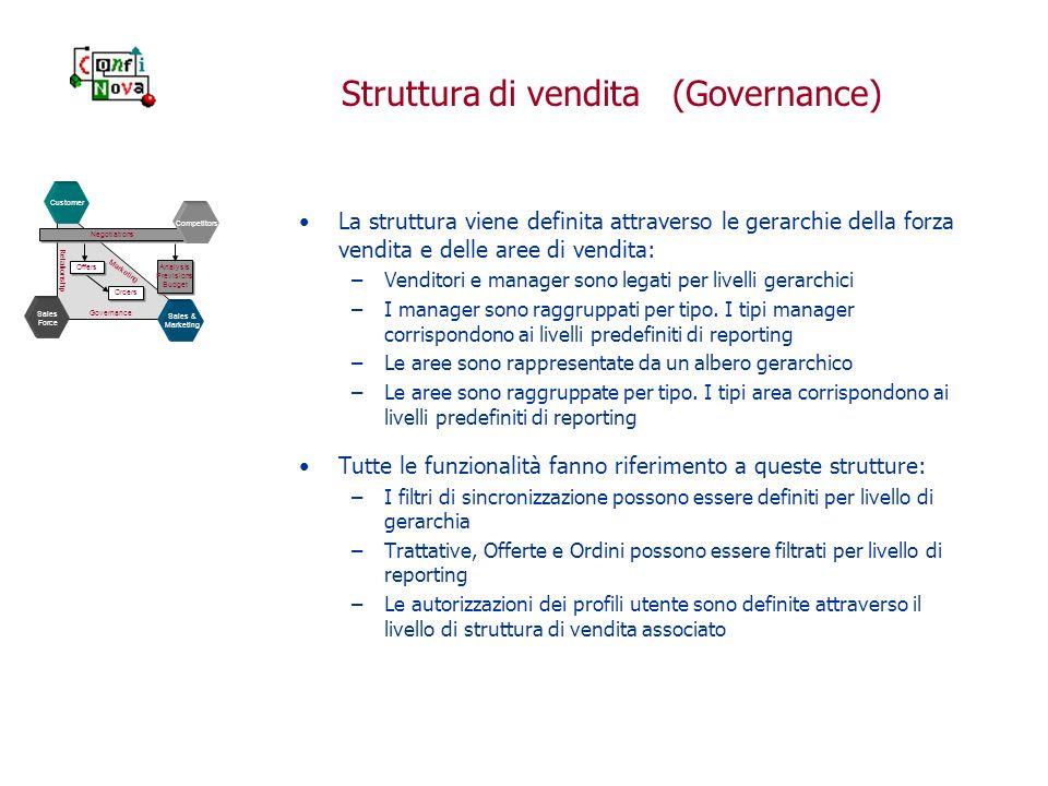 Struttura di vendita (Governance) La struttura viene definita attraverso le gerarchie della forza vendita e delle aree di vendita: –Venditori e manager sono legati per livelli gerarchici –I manager sono raggruppati per tipo.