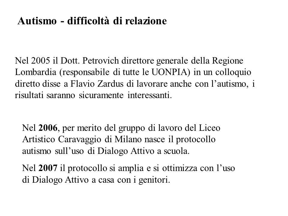 Autismo - difficoltà di relazione Nel 2005 il Dott.