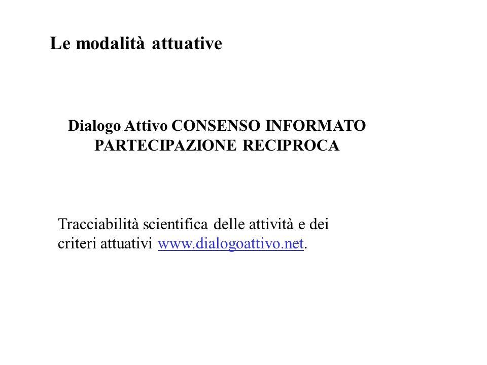 Le modalità attuative Dialogo Attivo CONSENSO INFORMATO PARTECIPAZIONE RECIPROCA Tracciabilità scientifica delle attività e dei criteri attuativi www.dialogoattivo.net.