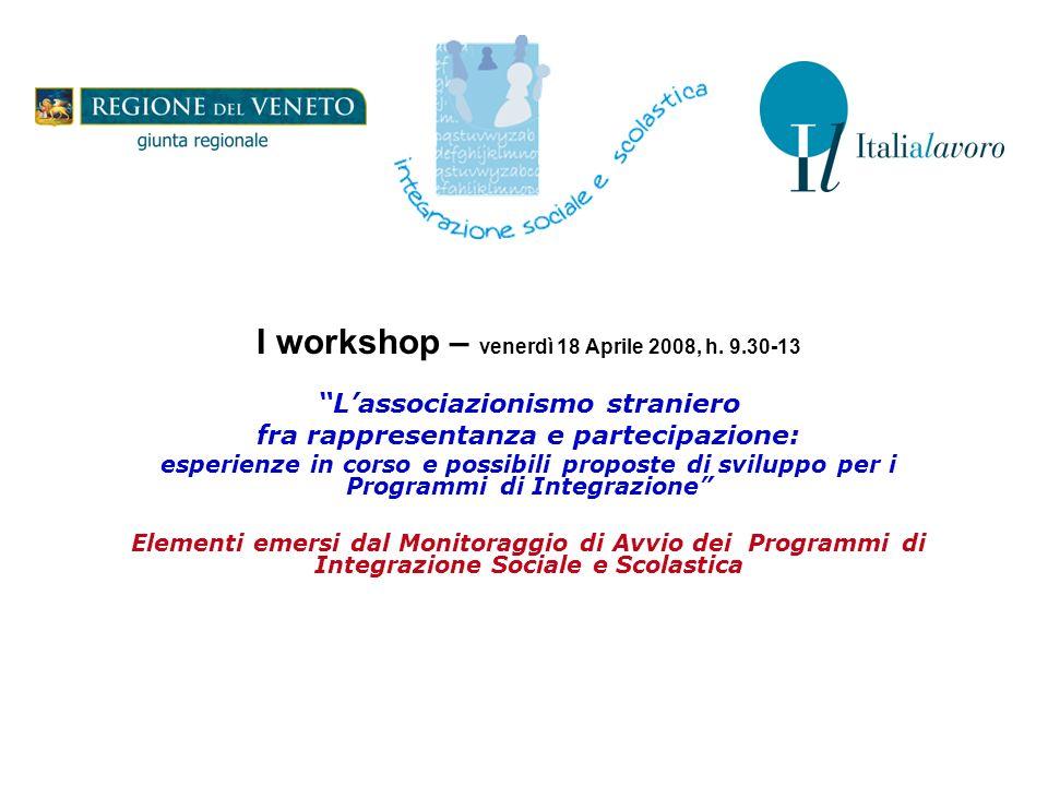 I workshop – venerdì 18 Aprile 2008, h. 9.30-13 Lassociazionismo straniero fra rappresentanza e partecipazione: esperienze in corso e possibili propos