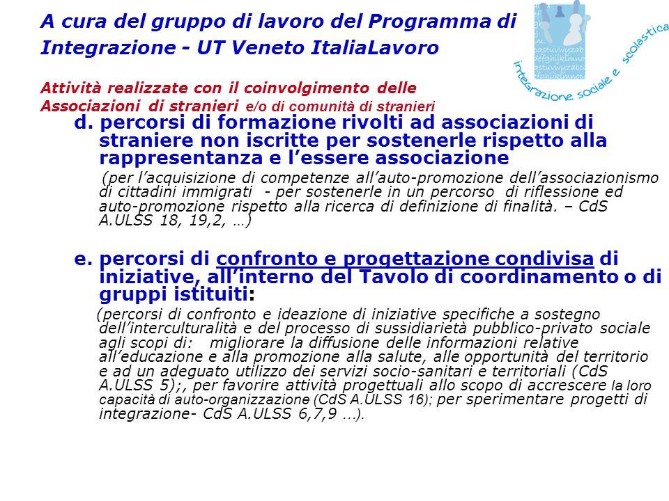 A cura del gruppo di lavoro del Programma di Integrazione - UT Veneto ItaliaLavoro Attività realizzate con il coinvolgimento delle Associazioni di str