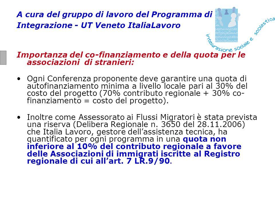 A cura del gruppo di lavoro del Programma di Integrazione - UT Veneto ItaliaLavoro Importanza del co-finanziamento e della quota per le associazioni d