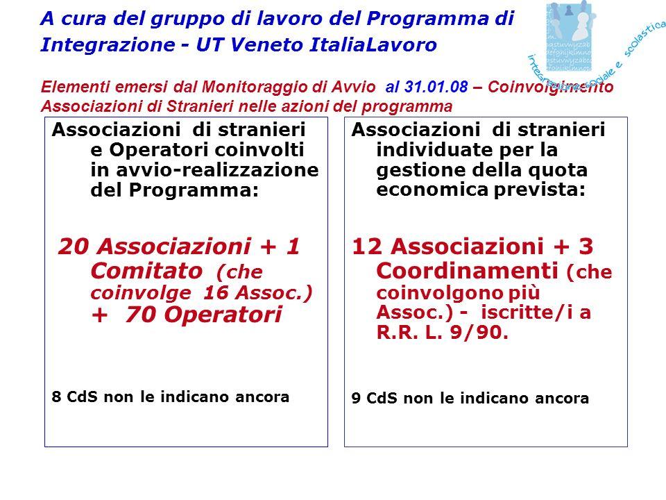A cura del gruppo di lavoro del Programma di Integrazione - UT Veneto ItaliaLavoro Elementi emersi dal Monitoraggio di Avvio al 31.01.08 – Coinvolgime