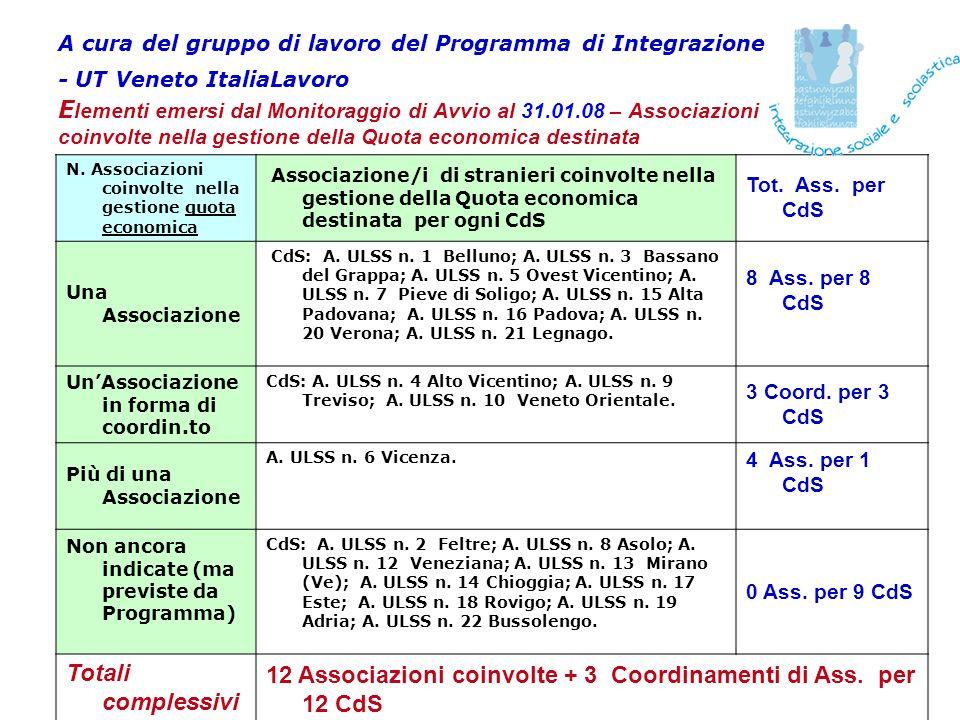 A cura del gruppo di lavoro del Programma di Integrazione - UT Veneto ItaliaLavoro E lementi emersi dal Monitoraggio di Avvio al 31.01.08 – Associazioni coinvolte nella gestione della Quota economica destinata N.