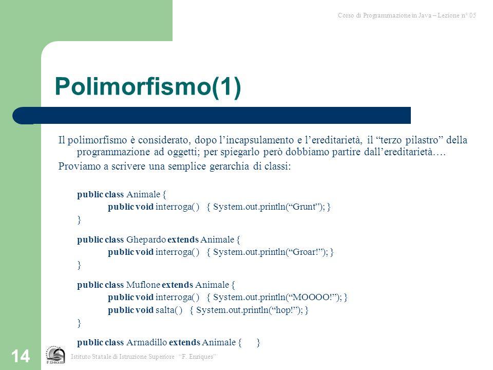 14 Polimorfismo(1) Il polimorfismo è considerato, dopo lincapsulamento e lereditarietà, il terzo pilastro della programmazione ad oggetti; per spiegarlo però dobbiamo partire dallereditarietà….