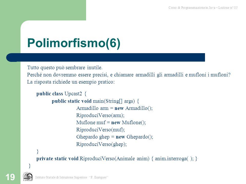 19 Polimorfismo(6) Tutto questo può sembrare inutile.