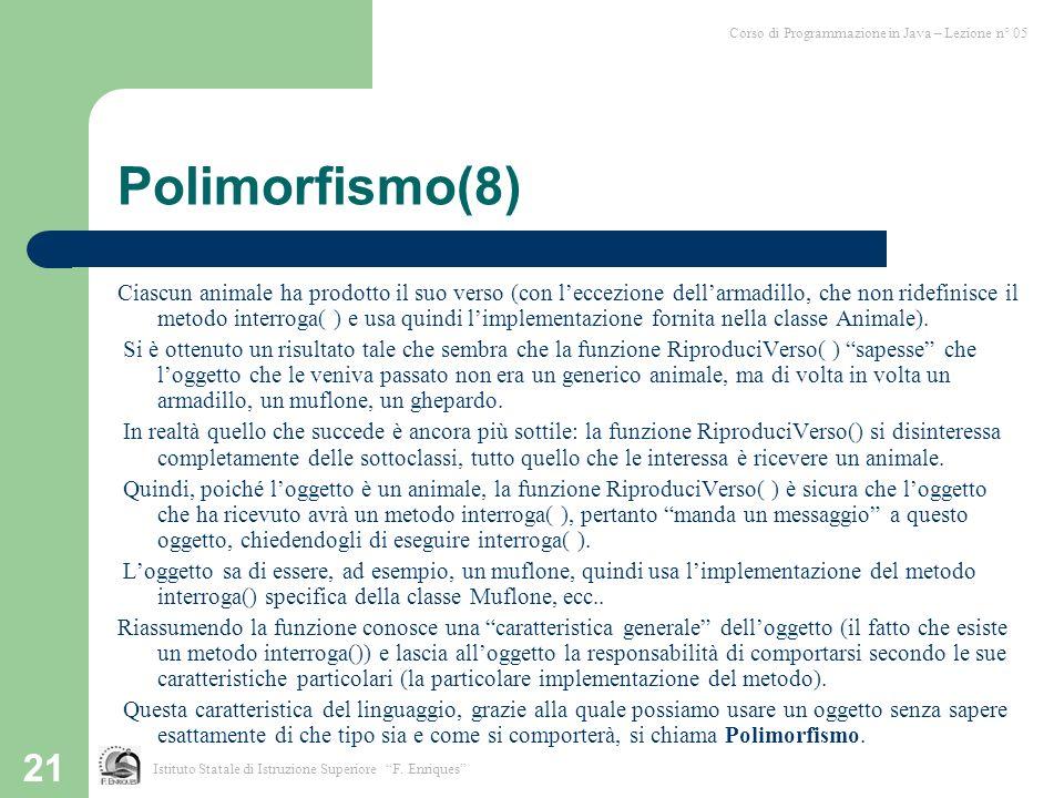 21 Polimorfismo(8) Ciascun animale ha prodotto il suo verso (con leccezione dellarmadillo, che non ridefinisce il metodo interroga( ) e usa quindi limplementazione fornita nella classe Animale).