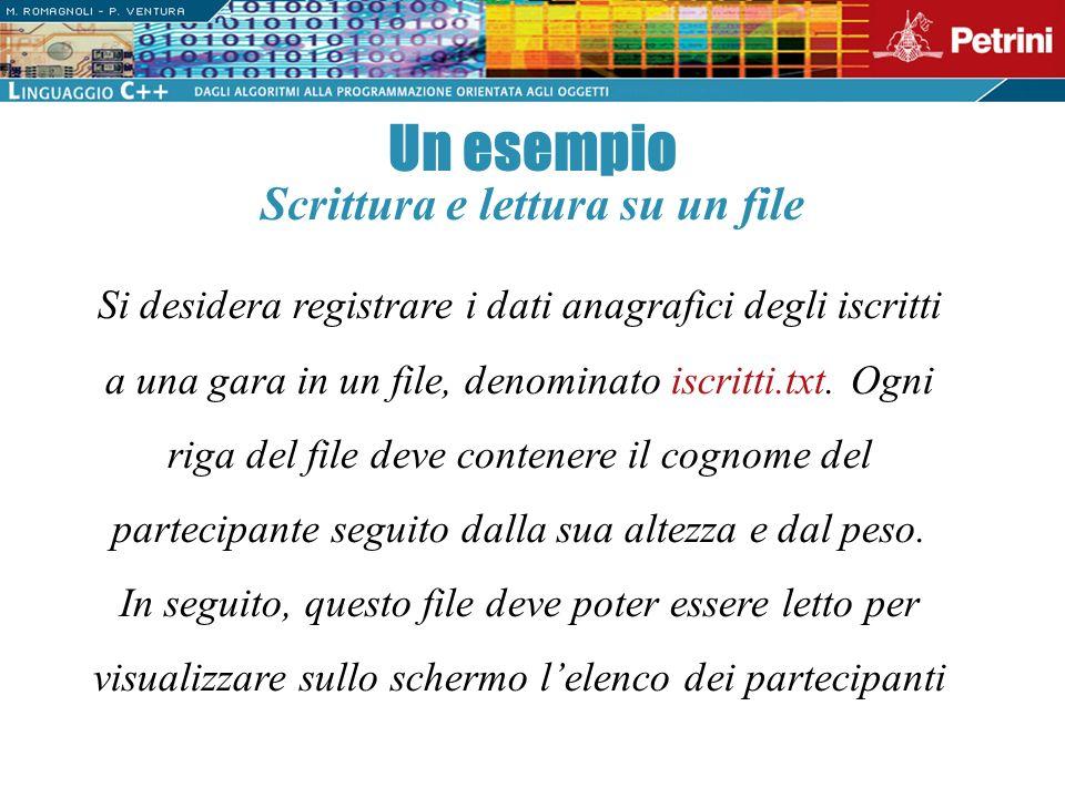 Un esempio Si desidera registrare i dati anagrafici degli iscritti a una gara in un file, denominato iscritti.txt. Ogni riga del file deve contenere i