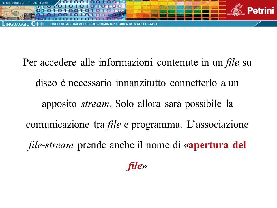 Per accedere alle informazioni contenute in un file su disco è necessario innanzitutto connetterlo a un apposito stream. Solo allora sarà possibile la