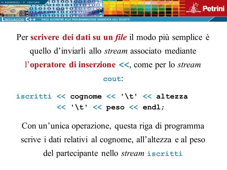 Per scrivere dei dati su un file il modo più semplice è quello dinviarli allo stream associato mediante loperatore di inserzione <<, come per lo strea