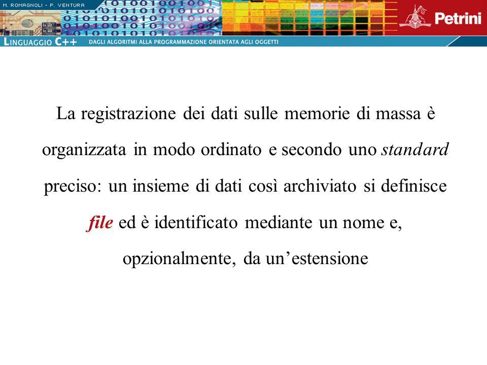 Per esempio, la seguente riga di programma: ofstream iscritti( iscritti.txt ); apre un file in scrittura ovvero crea un nuovo file su disco, iscritti.txt, e lo connette allo stream duscita iscritti, di tipo ofstream (output file stream, definito nellheader file )