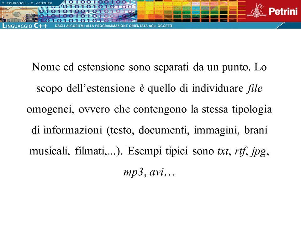 // Acquisizione dati if(n > 0) { // Apertura in scrittura del file di testo ofstream iscritti( iscritti.txt , ios::app); if(iscritti) { // Se non si sono verificati errori for(unsigned i = 0; i < n; i++) { // Acquisizione dati mediante lo stream cin cout << \nCognome: ; cin >> cognome; cout << Altezza: ; cin >> altezza; cout << Peso...: ; cin >> peso; // Scrittura dei dati formattati nel file iscritti << cognome << \t << altezza << \t << peso << endl; } } else cout << Errore di apertura file << endl; } }