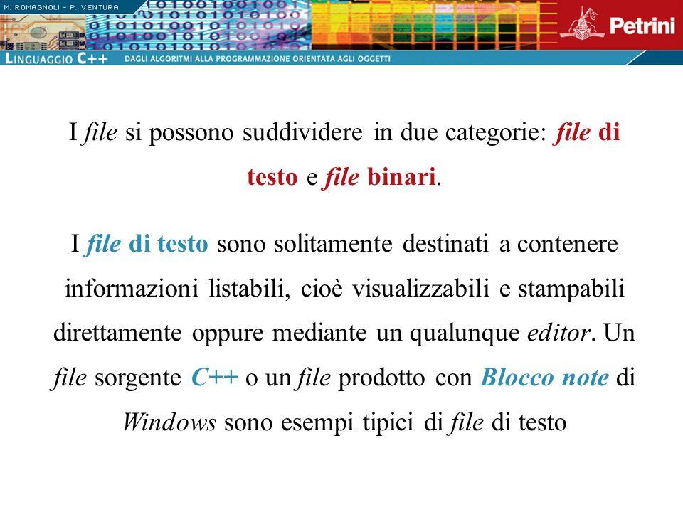 I file binari sono utilizzati per memorizzare qualsiasi tipo dinformazione e possono contenere una successione di byte qualsiasi, pertanto, non necessariamente in un formato listabile.