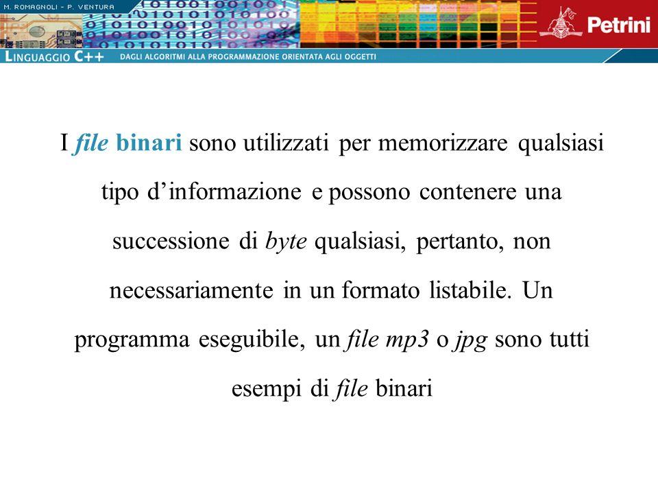 I file binari sono utilizzati per memorizzare qualsiasi tipo dinformazione e possono contenere una successione di byte qualsiasi, pertanto, non necess