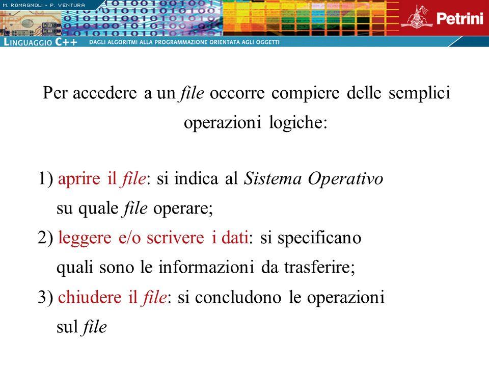 Per accedere a un file occorre compiere delle semplici operazioni logiche: 1) aprire il file: si indica al Sistema Operativo su quale file operare; 2)