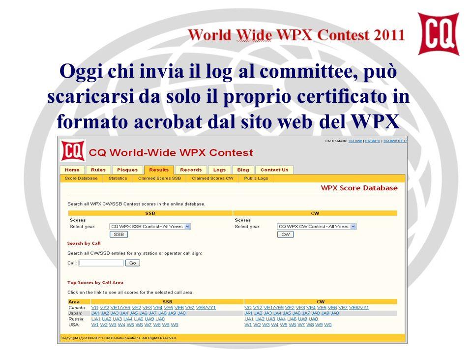 Oggi chi invia il log al committee, può scaricarsi da solo il proprio certificato in formato acrobat dal sito web del WPX