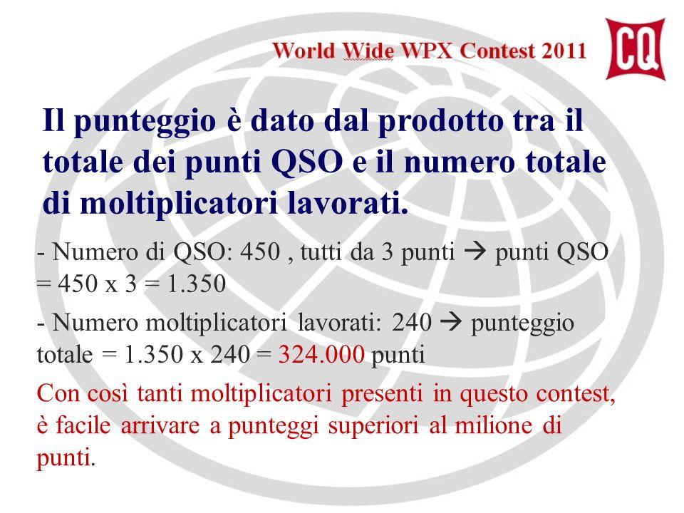Il punteggio è dato dal prodotto tra il totale dei punti QSO e il numero totale di moltiplicatori lavorati.
