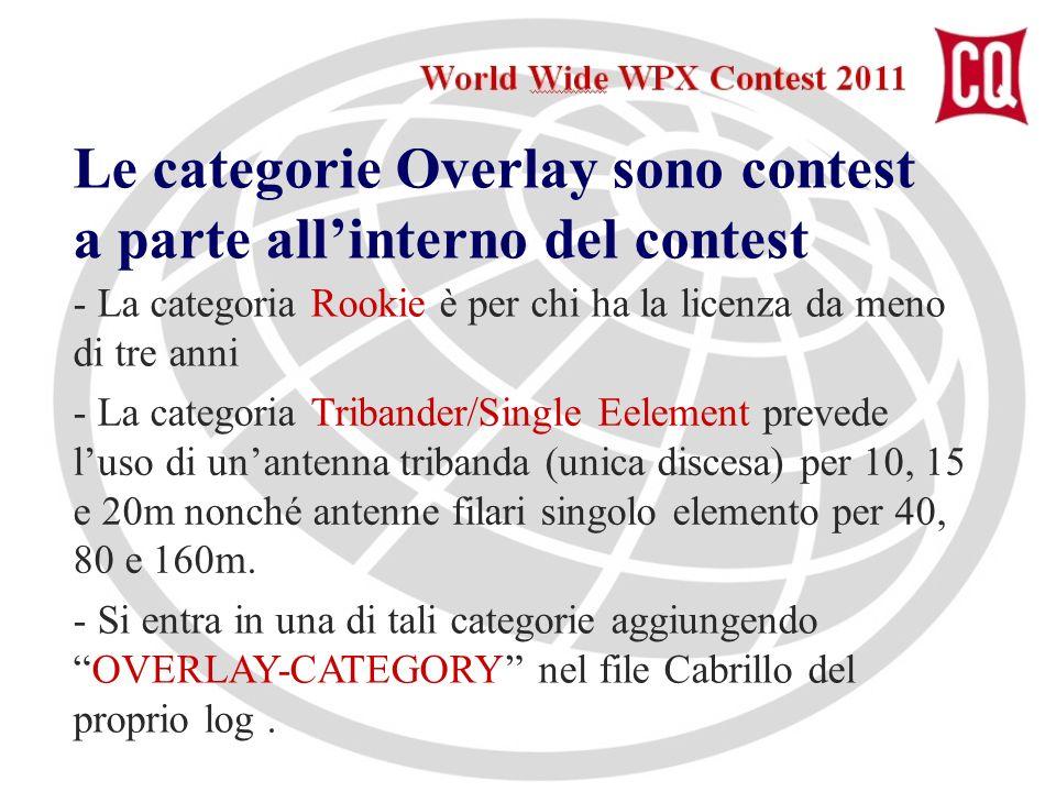 Le categorie Overlay sono contest a parte allinterno del contest - La categoria Rookie è per chi ha la licenza da meno di tre anni - La categoria Tribander/Single Eelement prevede luso di unantenna tribanda (unica discesa) per 10, 15 e 20m nonché antenne filari singolo elemento per 40, 80 e 160m.