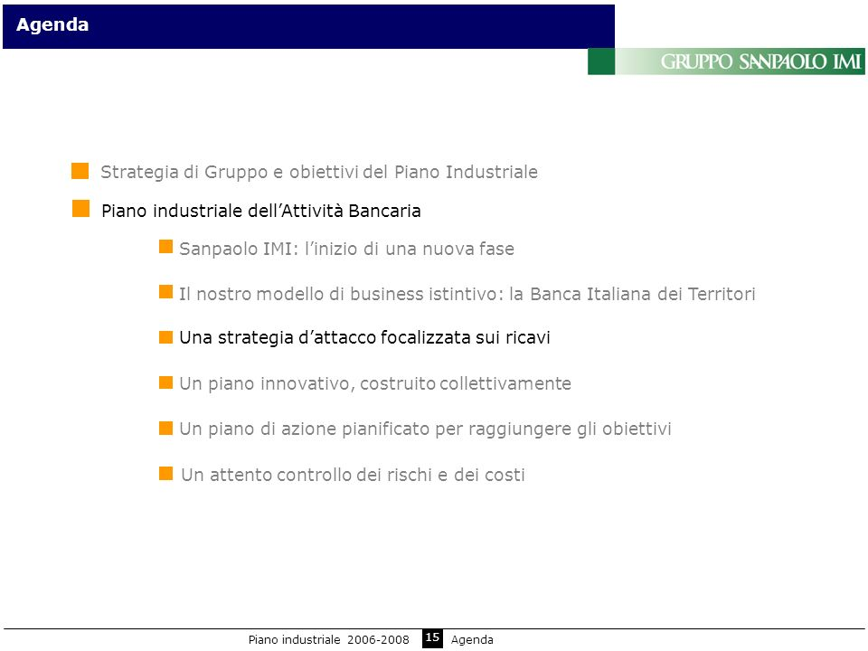 15 Sanpaolo IMI: linizio di una nuova fase Agenda Il nostro modello di business istintivo: la Banca Italiana dei Territori Un piano innovativo, costru