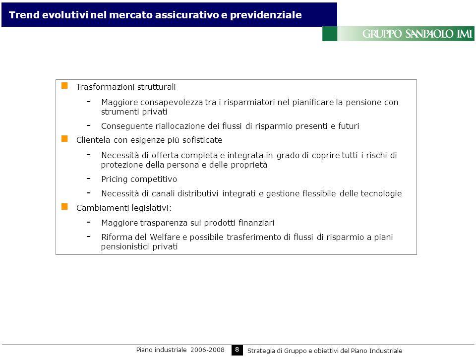 8 Trend evolutivi nel mercato assicurativo e previdenziale Trasformazioni strutturali - Maggiore consapevolezza tra i risparmiatori nel pianificare la