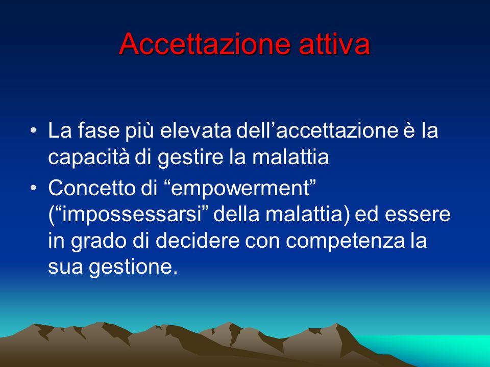 Accettazione attiva La fase più elevata dellaccettazione è la capacità di gestire la malattia Concetto di empowerment (impossessarsi della malattia) e