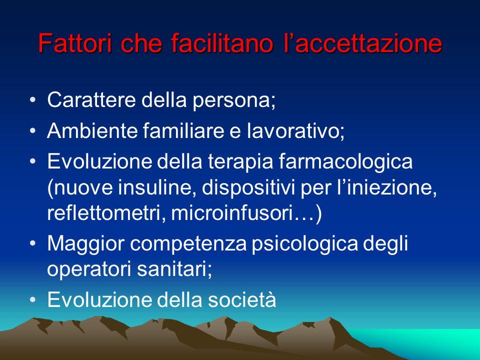 Fattori che facilitano laccettazione Carattere della persona; Ambiente familiare e lavorativo; Evoluzione della terapia farmacologica (nuove insuline,