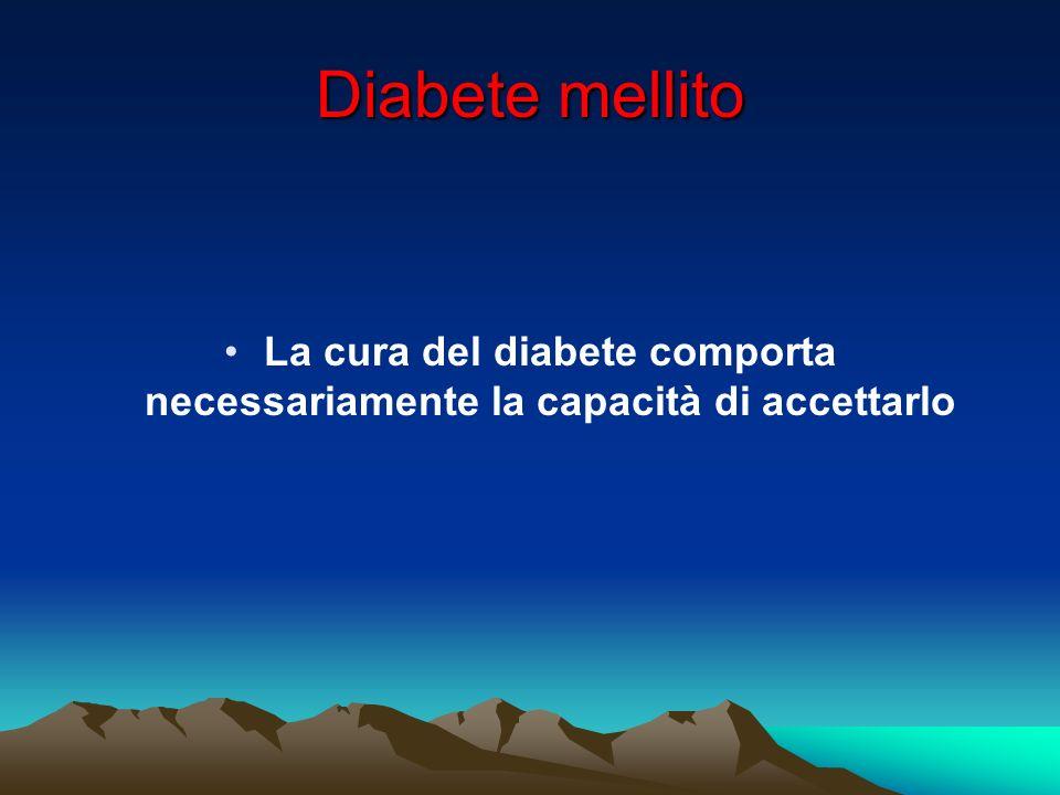 Accettazione del diabete Laccettazione è un processo più o meno lungo e difficile che varia da persona a persona e che non tutti riescono a raggiungere.